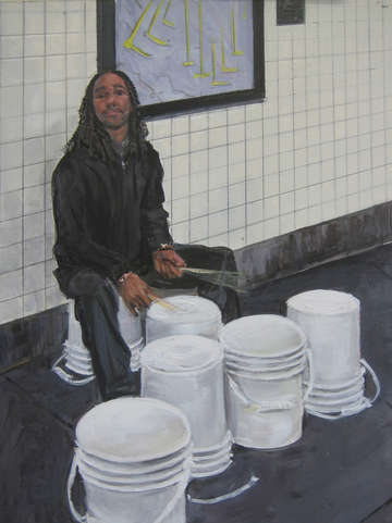 Subway busker bucket drummer
