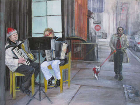 East 9th street intersections with accordionists