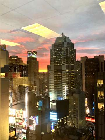 Sunset in times sq new york