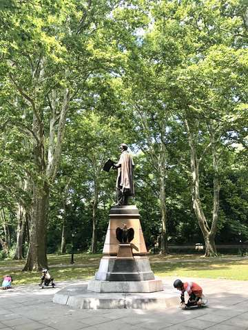 Skateboarding by lincoln statue brooklyn new york
