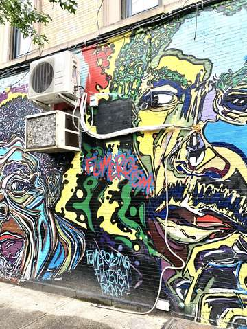 Graffiti faces close up brooklyn new york