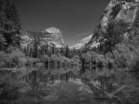 Half dome reflection in black white