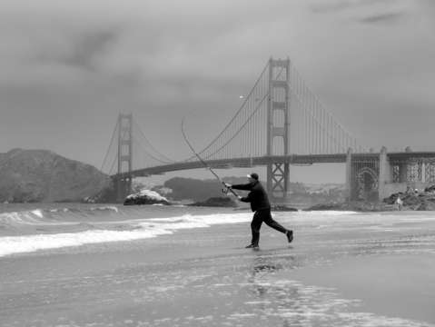 Golden gate fisherman bw