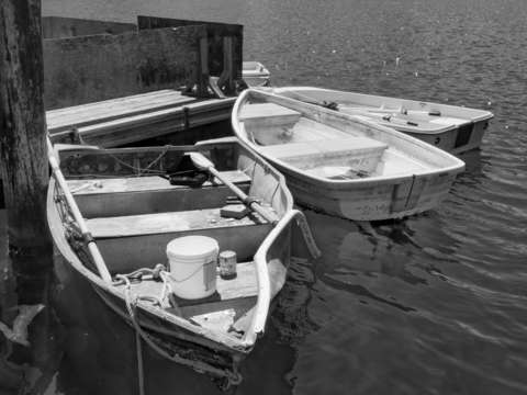 Monterey dinghies in bw