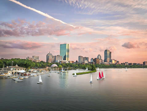 Boston skyline summer sunset