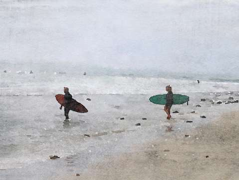 Surfers in the beach