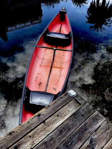 Red old wooden boat