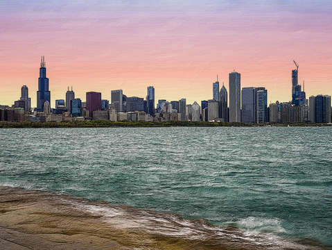 Chicago skyline painterly