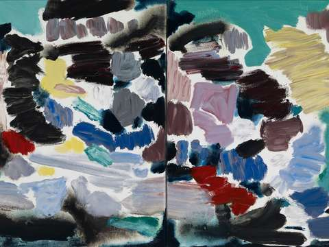 Abstract diptych darks notes