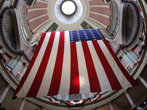 Garrison flag at historical old courthouse