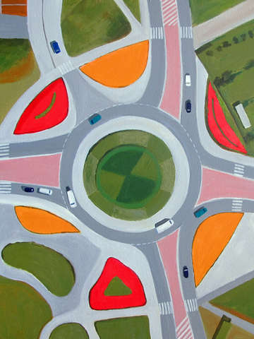 Traffic circle and roads