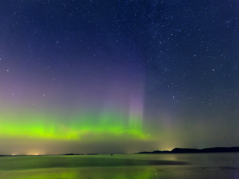 Aurora borealis over lake champlain 2
