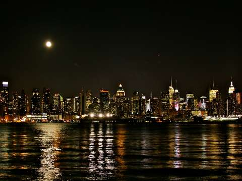 New York City Skyline with Full Moon