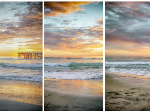 A fiery sky at mission beach triptych