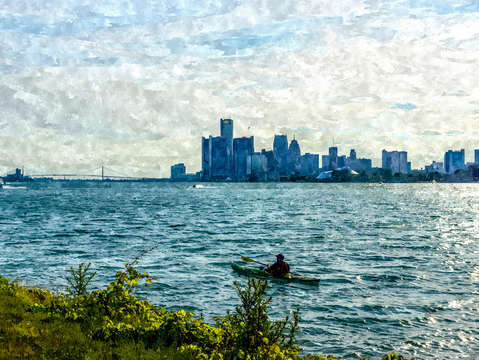 Canoeing detroit skyline painterly