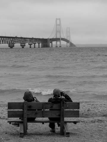 Viewing mackinac bridge grayscale