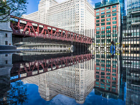 Wells street bridge reflections