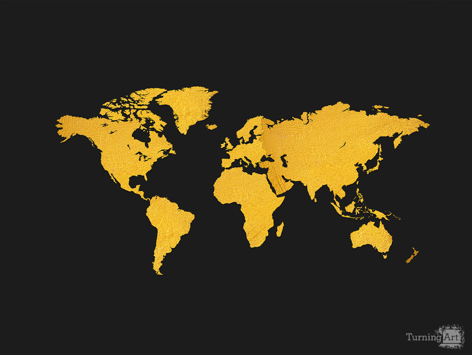Golden world map black