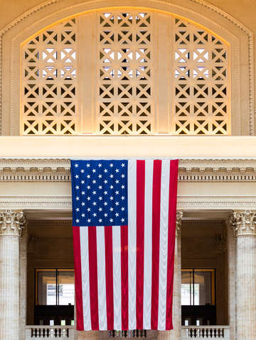 American flag in union station chicago