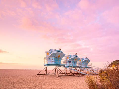 Doheny beach towers at sunrise