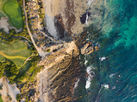 Crystal cove state park birds eye aerial