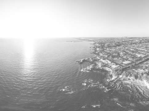 Crystal cove aerial panorama bw