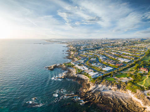 Crystal cove aerial panorama clouds