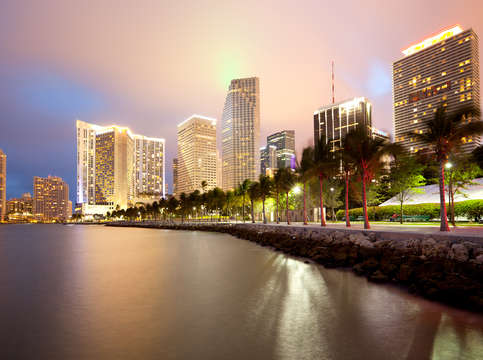 Brickell key skyline at dusk