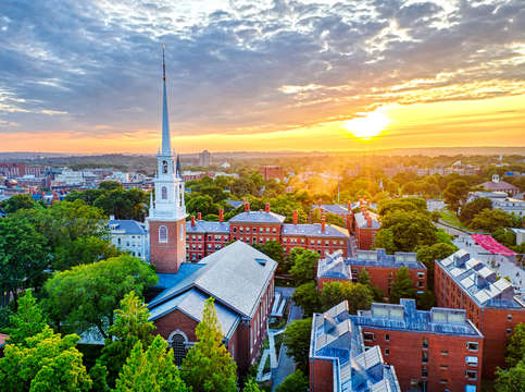 Harvard university sunset