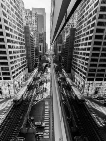 Chicago train system black and white