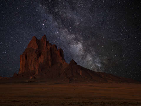 Shiprock at night
