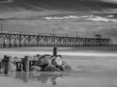 Pawleys fishing pier in black white