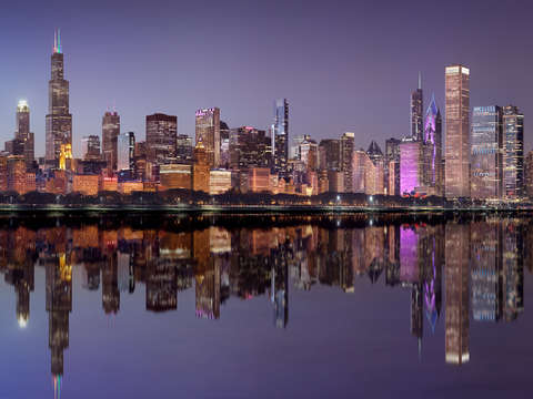 Chicago night skyline 2