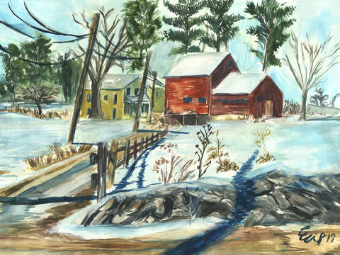 New england farm in winter