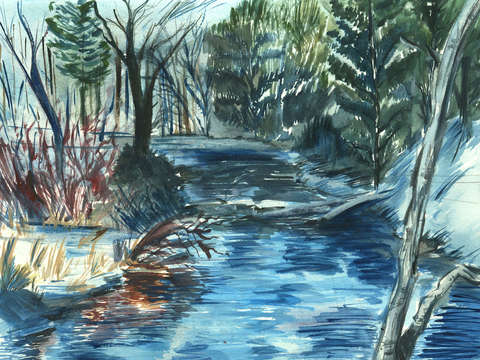Assabet river in winter berlin ma