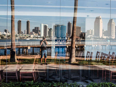 Downtown san diego skyline reflection