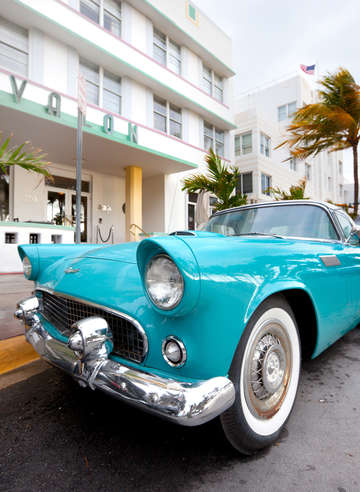 Classic car at ocean drive