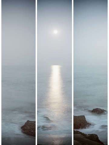 A moonlit beach in triptych