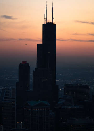 Chicago sunset over willis tower silhouette
