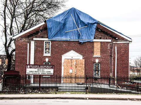 Methodist church with tornado damage