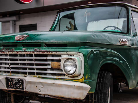Green ford pickup truck
