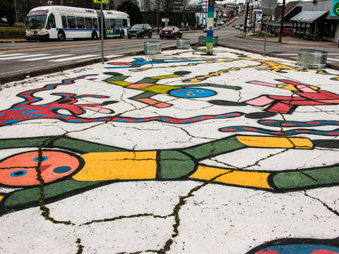 Street intersection mural