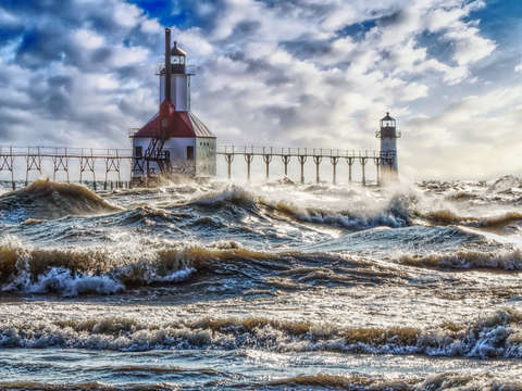 Storm at st joseph lighthouse