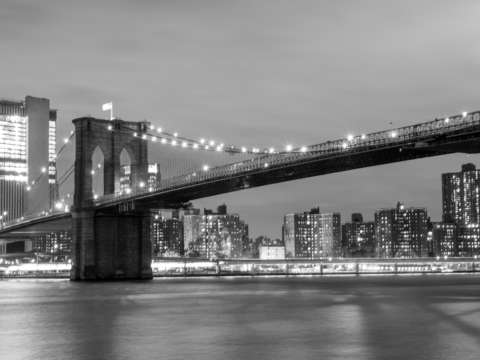 Brooklyn bridge long bw