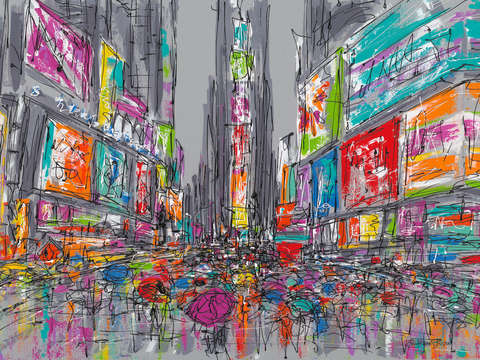 Rainy day in times square 2