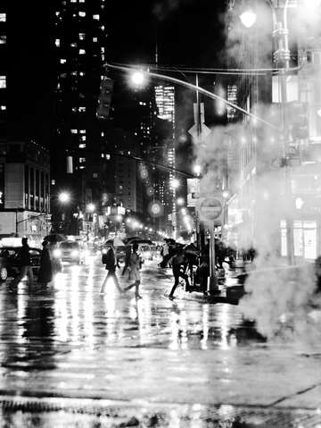 Rainy night black and white nyc