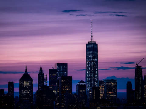 Purple nyc skyline