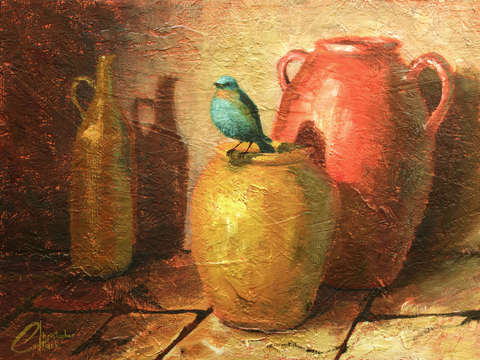 Blue Bird and Pottery I
