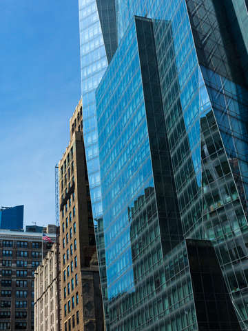 Geometric blue sky reflections manhattan nyc