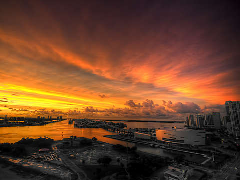 Orange miami sunset